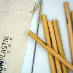 ökologisch und natürlich Bambus Strohhalmen 12-Pack mit Reinigungsbürste