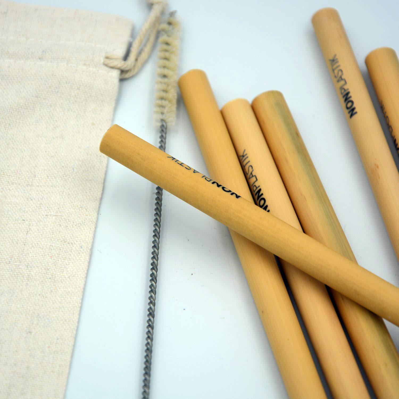 Bambus Strohhalmen 12-Pack mit Reinigungsbürste