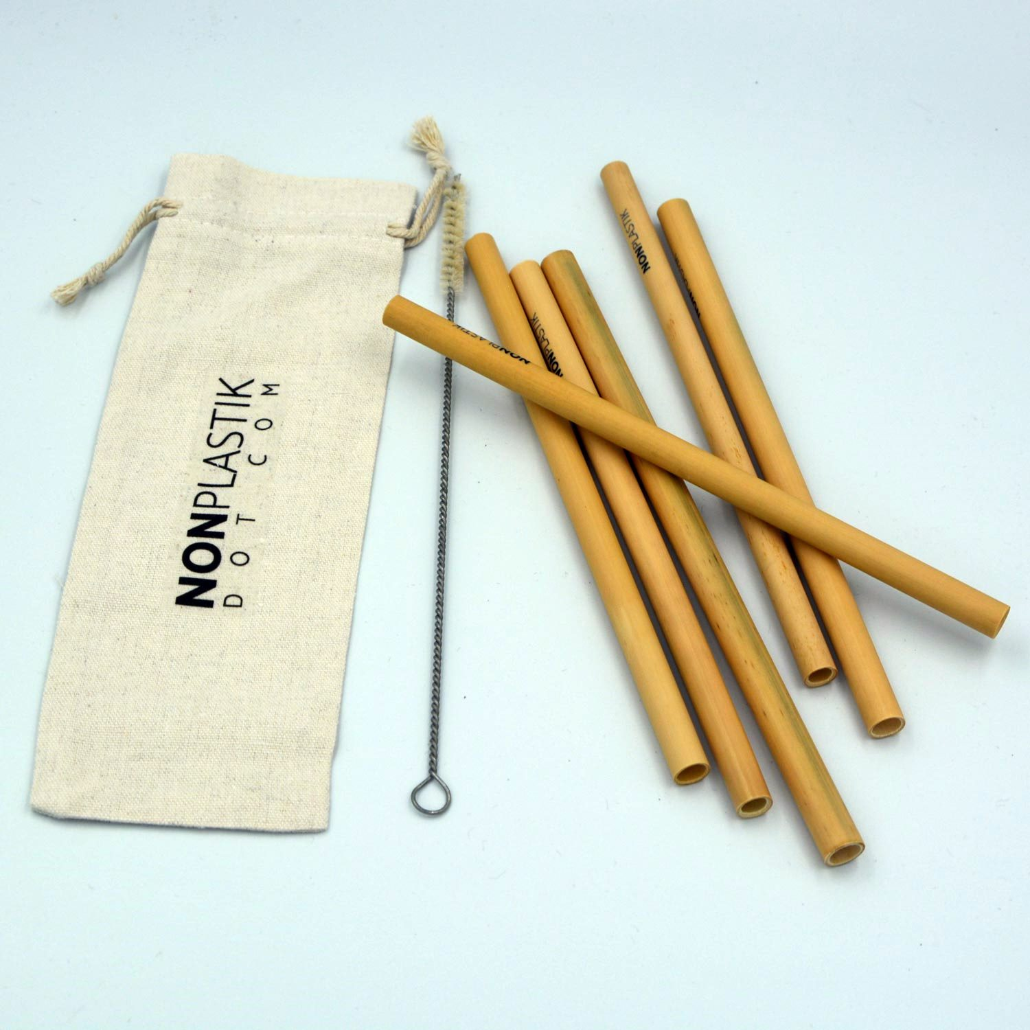 Bamboo straws with cleaning brush and environmentally friendly packaging