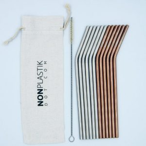Set of reusable straws, metal straws