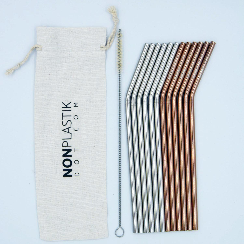 Set of reusable straws, metal straws