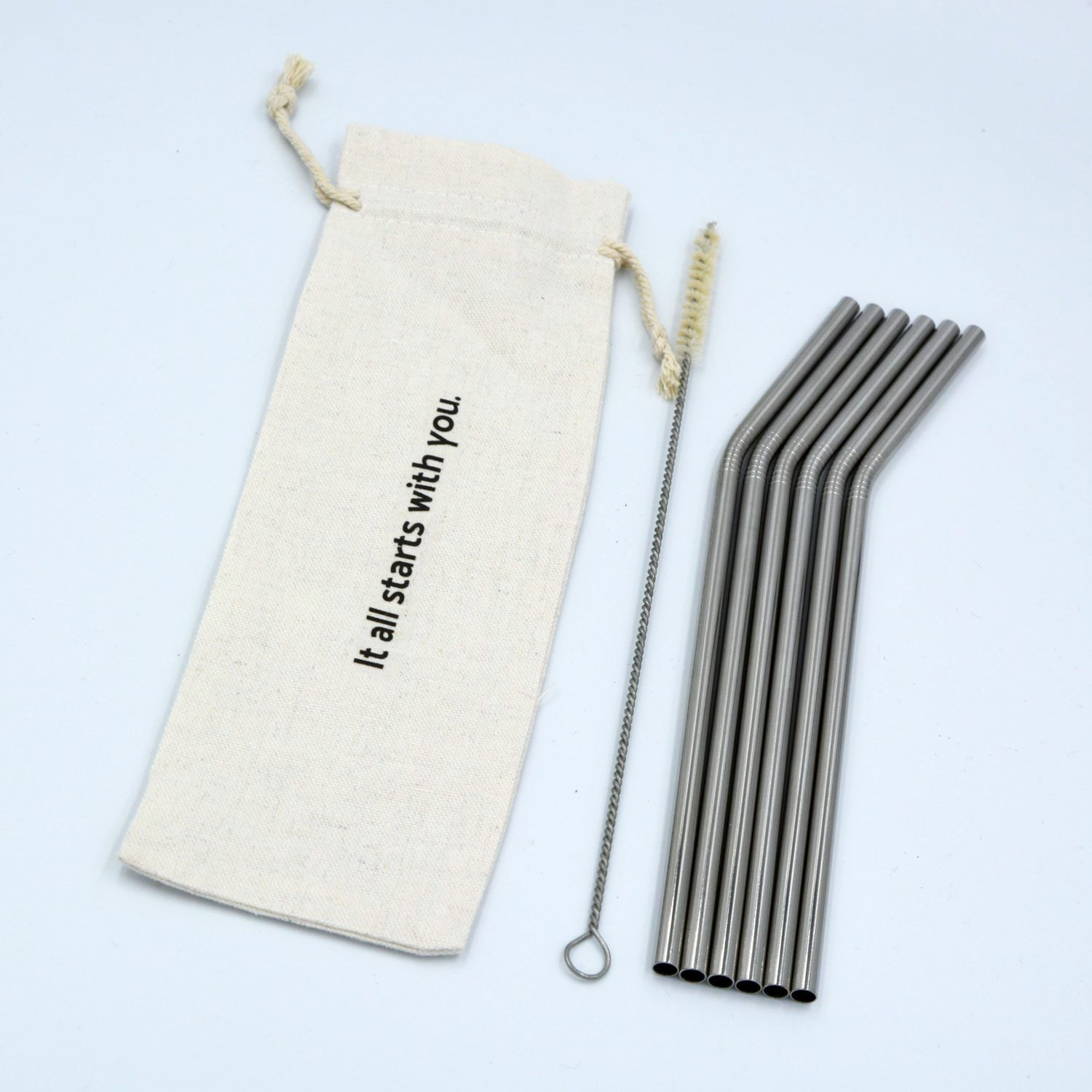 Silver metal straws with a cleaning brush