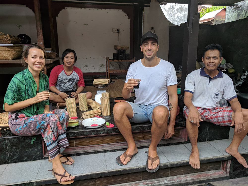 Visiting bamboo straw maker family in Bali
